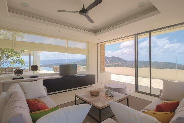 The air-conditioned 'sea view lounge' provides a cool retreat from the Samui sun