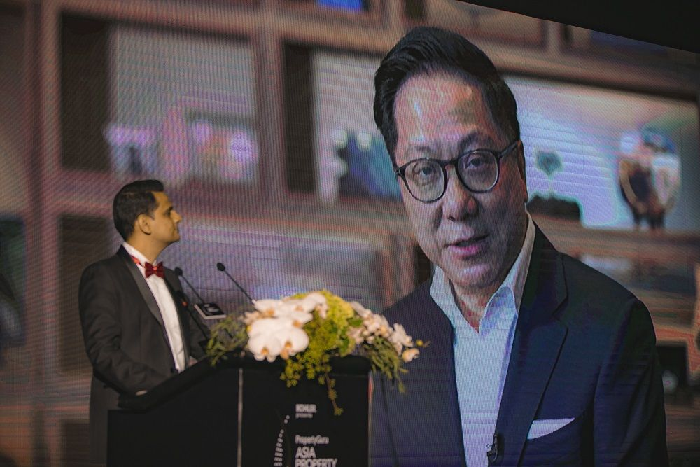 Tan giving his acceptance message on video after winning the inaugural Icon Award at the PropertyGuru Asia Property Awards Grand Final 2018