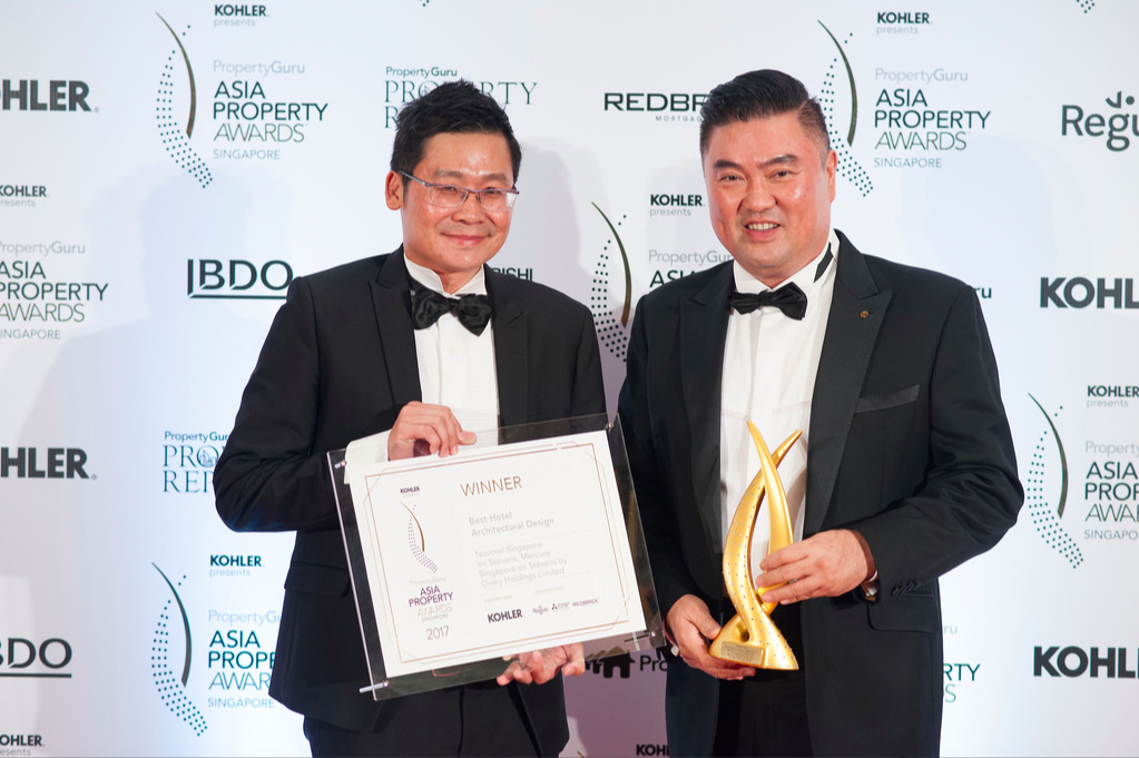 Ching and his business partner Eric Low, deputy CEO of Oxley Holdings Limited, face the media after winning the Best Hotel Architectural Design gong at the PropertyGuru Asia Property Awards (Singapore) 2017.