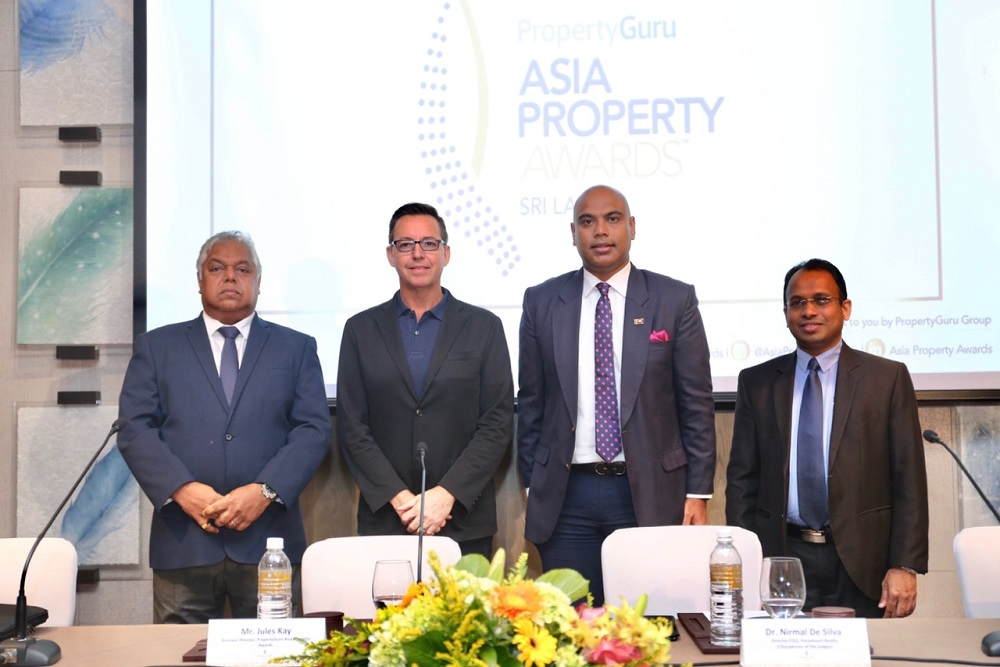 PropertyGuru Asia Property Awards (Sri Lanka) launched its 2019 edition in a media briefing today with (from left to right) Pradeep Moraes, award-winning director at Indocean Developers; Jules Kay, business director of Asia Property Awards; Dr. Nirmal de Silva, co-founder of Paramount Realty and chair of judges at the awards; and Sujeewa Rajapakse, partner at official awards supervisor BDO Sri Lanka