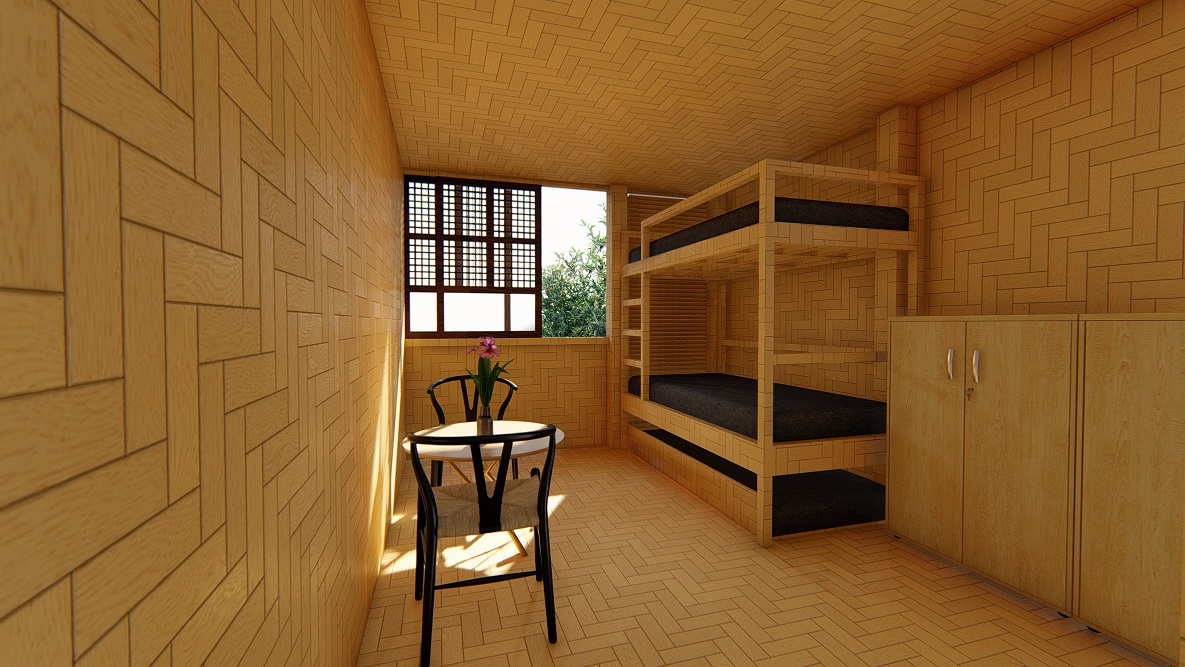 Artist's impression of a bedroom in CUBO