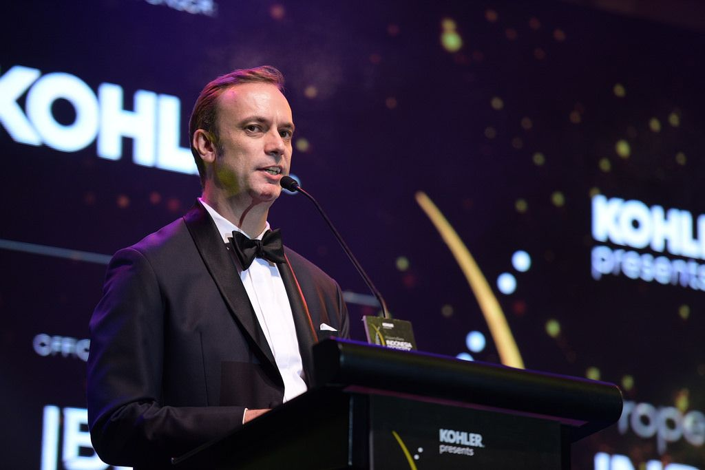 Terry Blackburn, founder and managing director of PropertyGuru Asia Property Awards, welcomes the nominees at the 2017 gala dinner in Jakarta