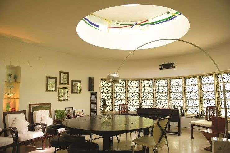 Cavernous ceilings are a feature of Dr. Easaw Thomas's home