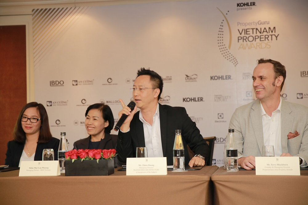 The call for nominations to the 2019 PropertyGuru Vietnam Property Awards was launched 28 November in a press conference that included (from left to right) Nguyễn Thị Lan Phương, Branch Manager, MALLOCA Vietnam; Mai Lan Phuong, Managing Partner, BDO Vietnam; Thien Duong, Managing Director, Transform Architecture; and Terry Blackburn, Founder & Managing Director, PropertyGuru Asia Property Awards