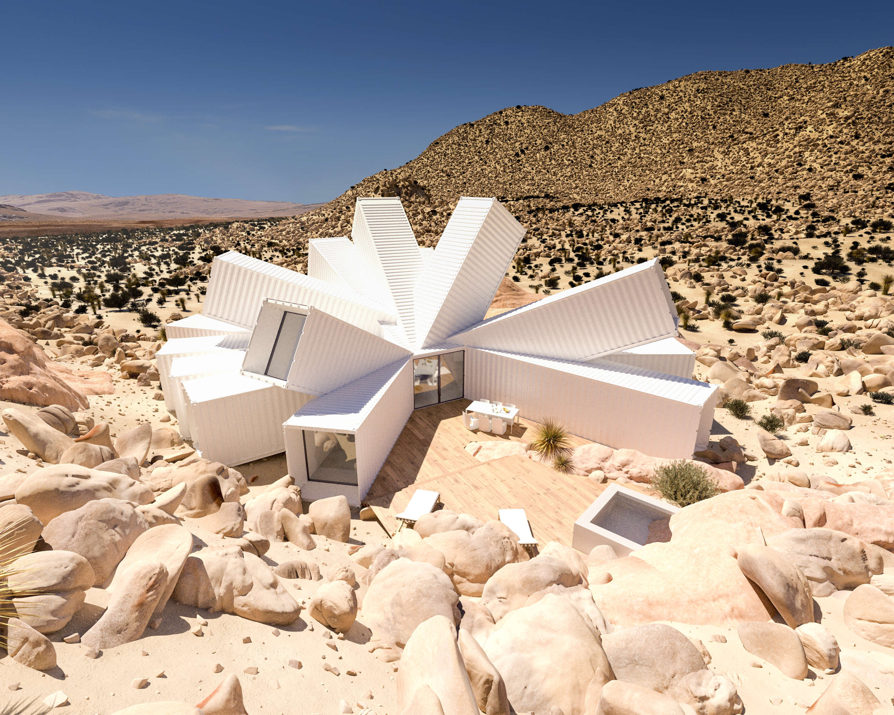 A photorealistic render of the Joshua Tree Residence. Image credit: Whitaker Studio