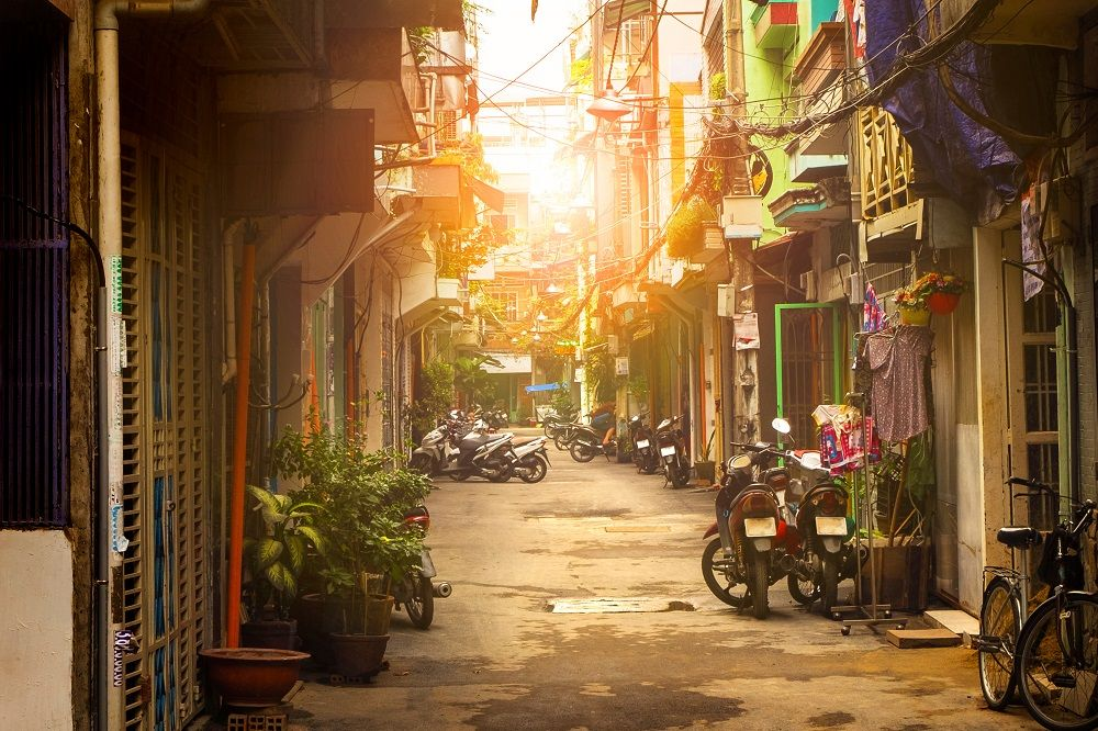 A residential alley in Ho Chi Minh City, Vietnam. tache/Shutterstock