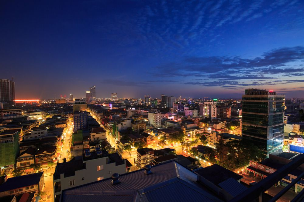 Phnom Penh, Cambodia at night. noomcpk/Shutterstock