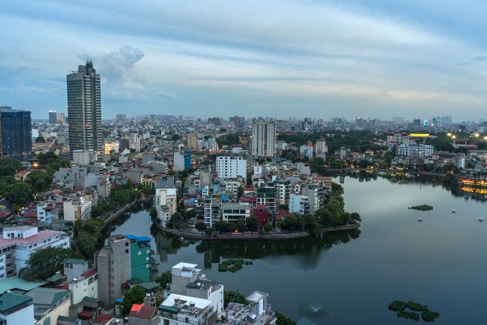 Hanoi skyline at West Lake (Ho Tay). Vietnam Stock Images/Shutterstock