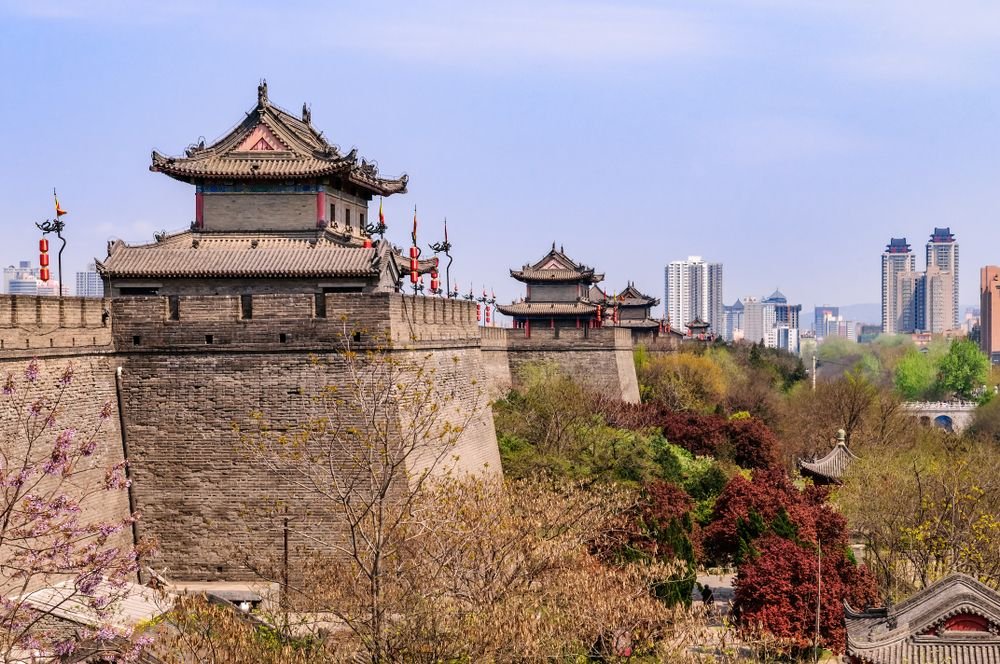 The old imperial section of Xi'an stands in stark contrast to its modern skyline. ebenart/Shutterstock