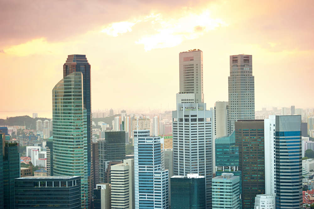 Downtown Singapore at sunset. Image: joyfull/Shutterstock