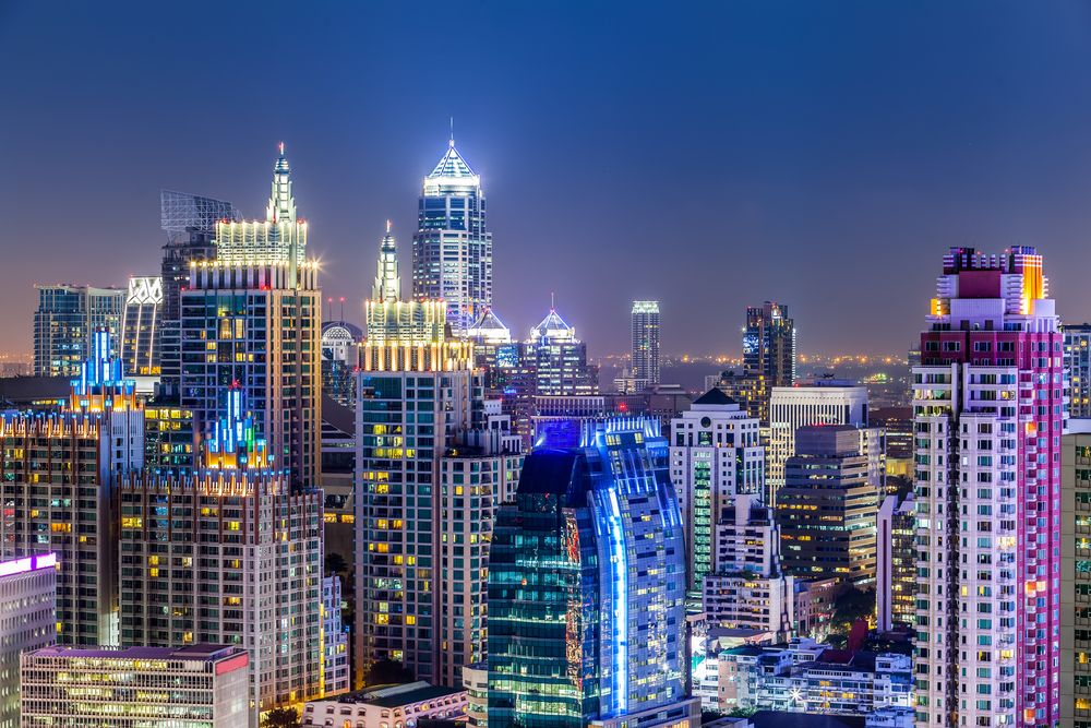 Bangkok cityscape at night. TWStock/Shutterstock