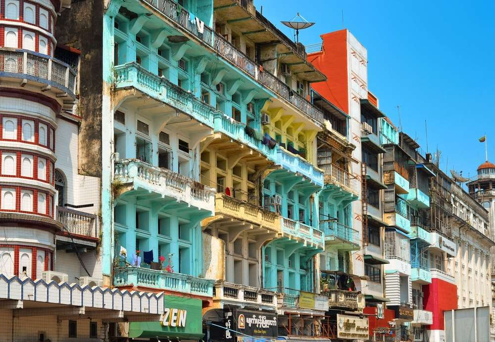 Colonial buildings in the town of Yangon. kravka/Shutterstock