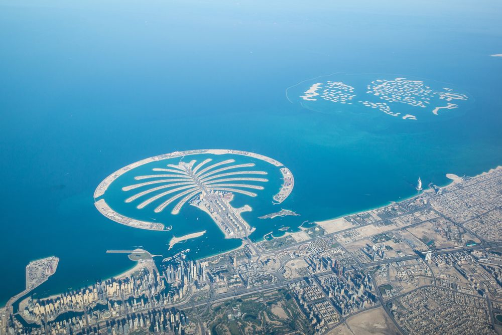 View of mainland Dubai and its artificial islands. Mario Hagen/Shutterstock