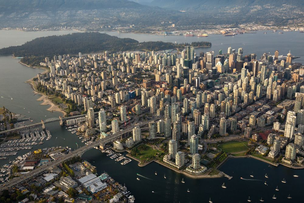 Aerial view of downtown Vancouver on a summer evening. EB Adventure Photography/Shutterstock