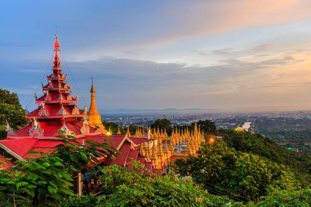 Mandalay Hill, a major pilgrimage site in Myanmar, has a panoramic view of the city of Mandalay. Avigator Thailand/Shutterstock