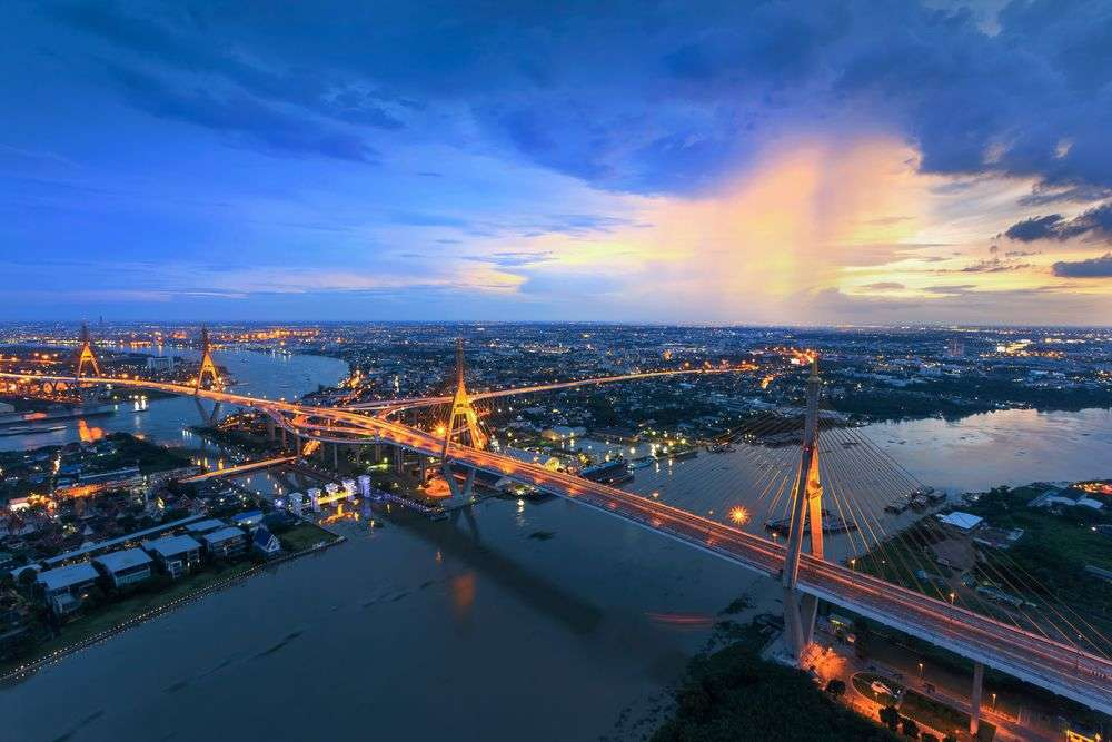 View of Bhumibol Bridge in Bangkok, Thailand. weerasak/Shutterstock