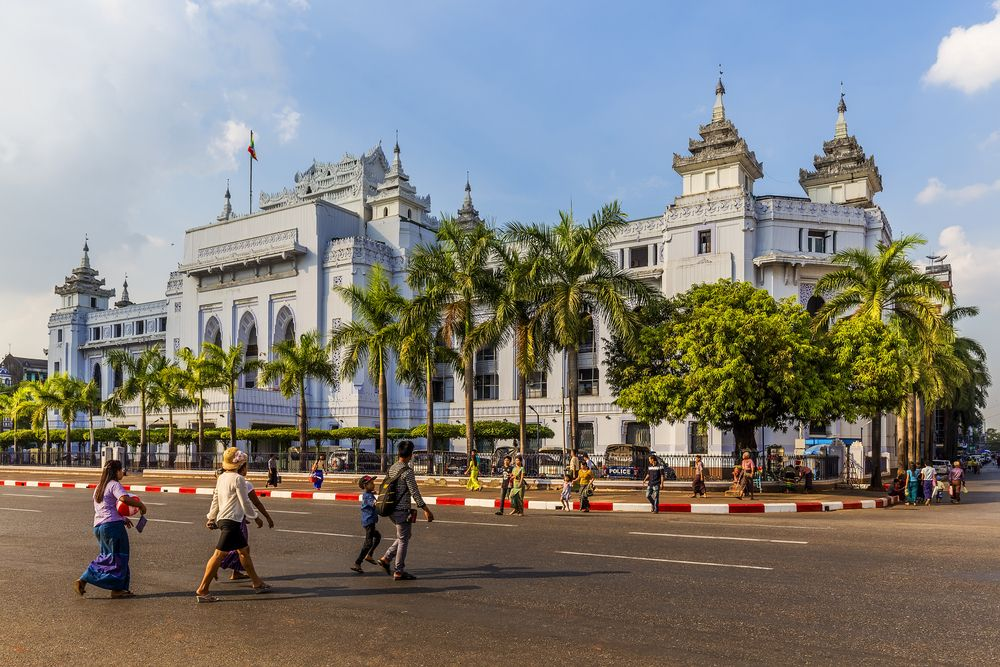 The Yangon City Hall in Myanmar is considered a fine example of syncretic Burmese architecture. Ungvari Attila/Shutterstock