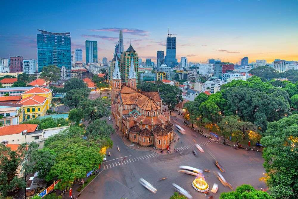 Vietnam has a sizable Catholic populace. Pictured here is the Notre-Dame Cathedral Basilica of Saigon. Sean Hsu/Shutterstock