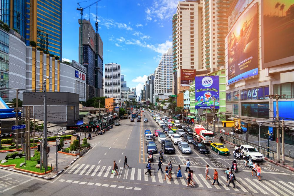 Asoke intersection on Sukhumvit Road, Bangkok. SOUTHERNTraveler/Shutterstock