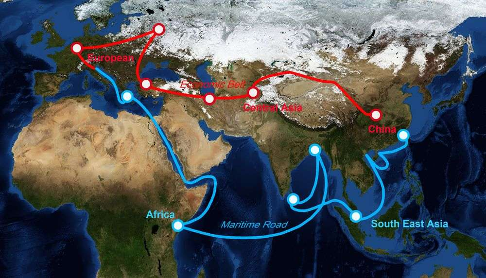 Map of One Belt, One Road Initiative. YIUCHEUNG/Shutterstock