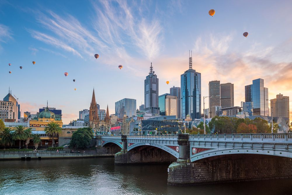Hot-air balloons over Melbourne, Victoria. f11photo/Shutterstock