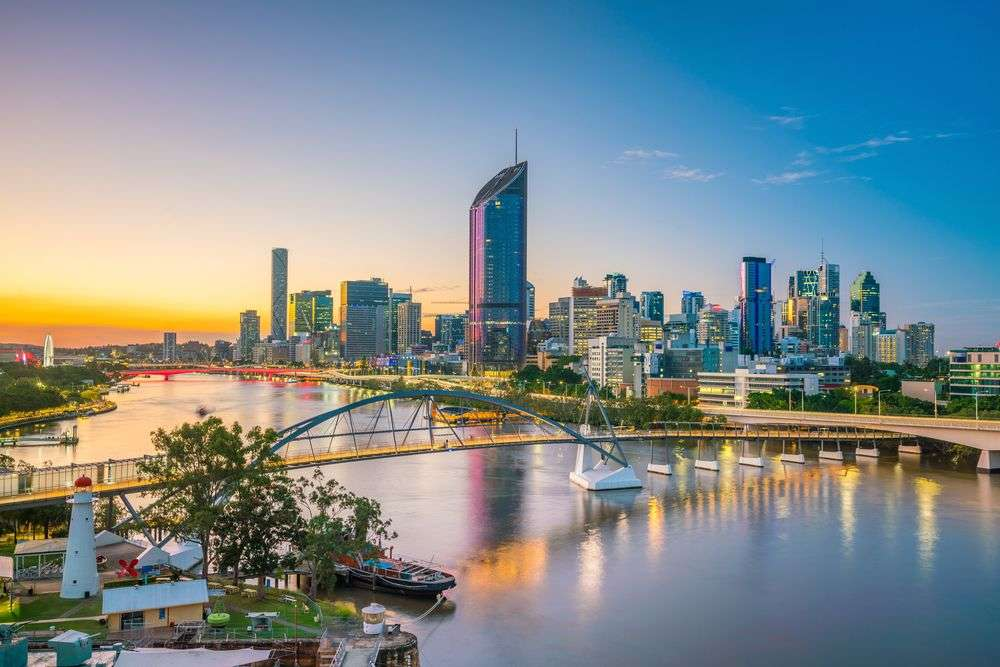 Brisbane city skyline at twilight. f11photo/Shutterstock