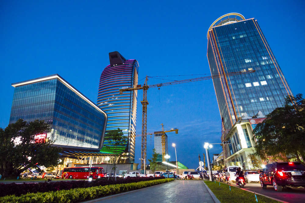 The fast-rising modern skyscrapers of Phnom Penh, Cambodia. Andrii Lutsyk/Shutterstock