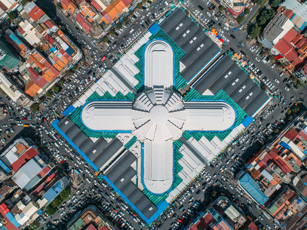 Bird's eye view of the iconic Psar Thmei central market in Phnom Penh. Shanti Hesse/Shutterstock