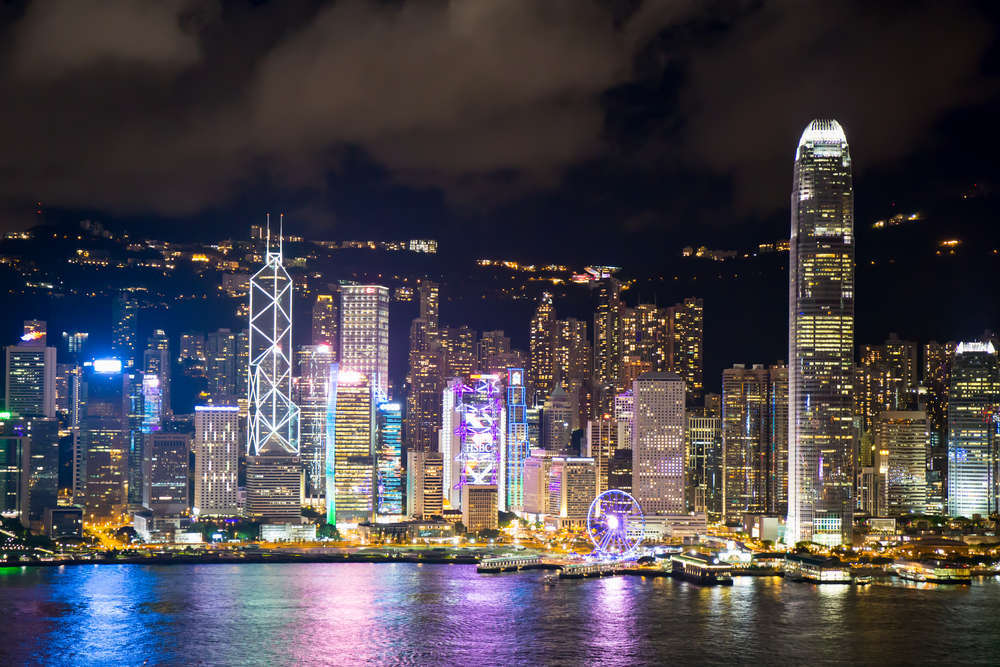Hong Kong's Victoria Harbour skyline from Kowloon. Prath/Shutterstock