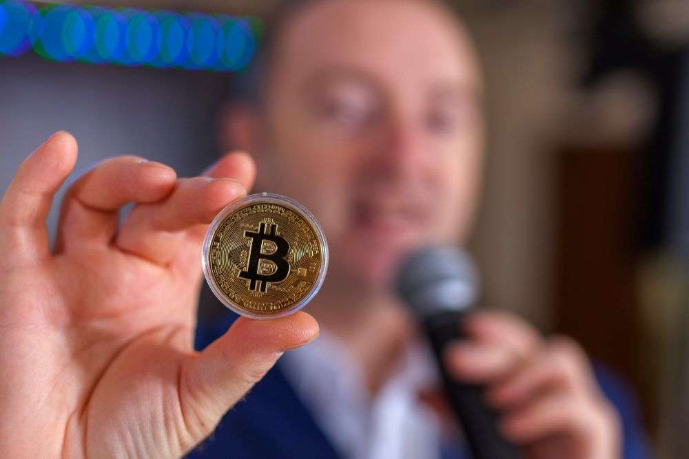 Irony strikes for a cryptocurrency conferency in the US. Alexander_G/Shutterstock