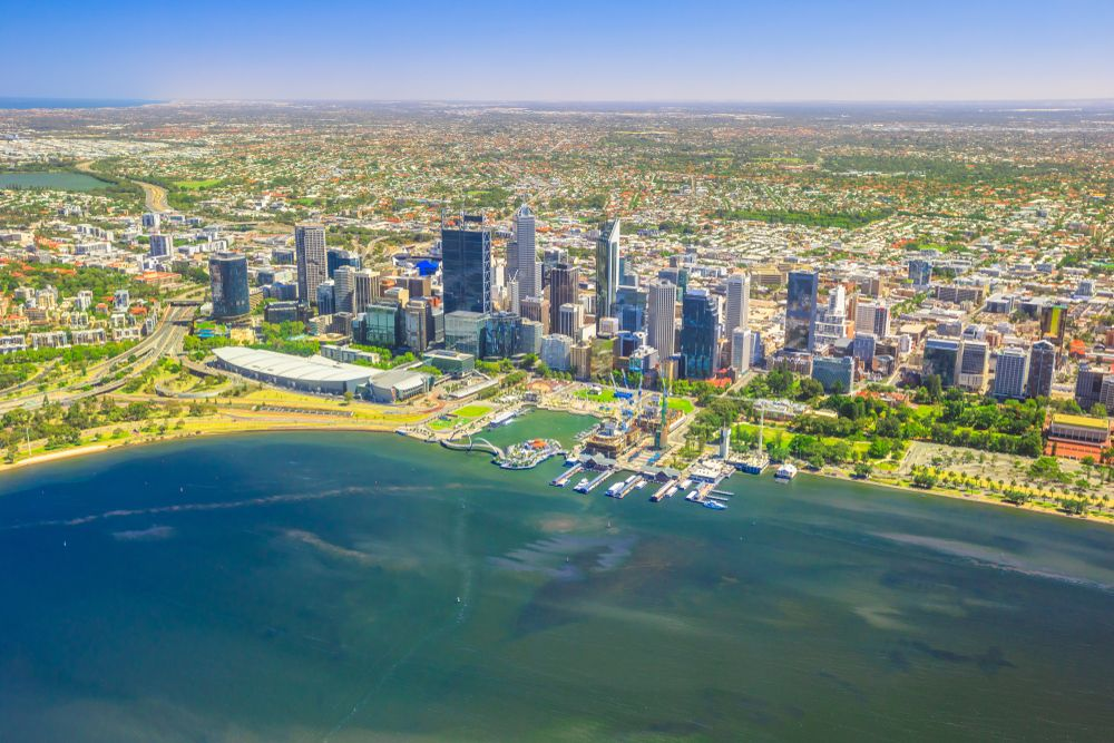 Aerial view of Perth, Australia. Benny Marty/Shutterstock