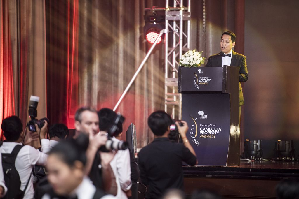 Key Real Estate's Sorn Seap speaks at the 2018 PropertyGuru Cambodia Property Awards