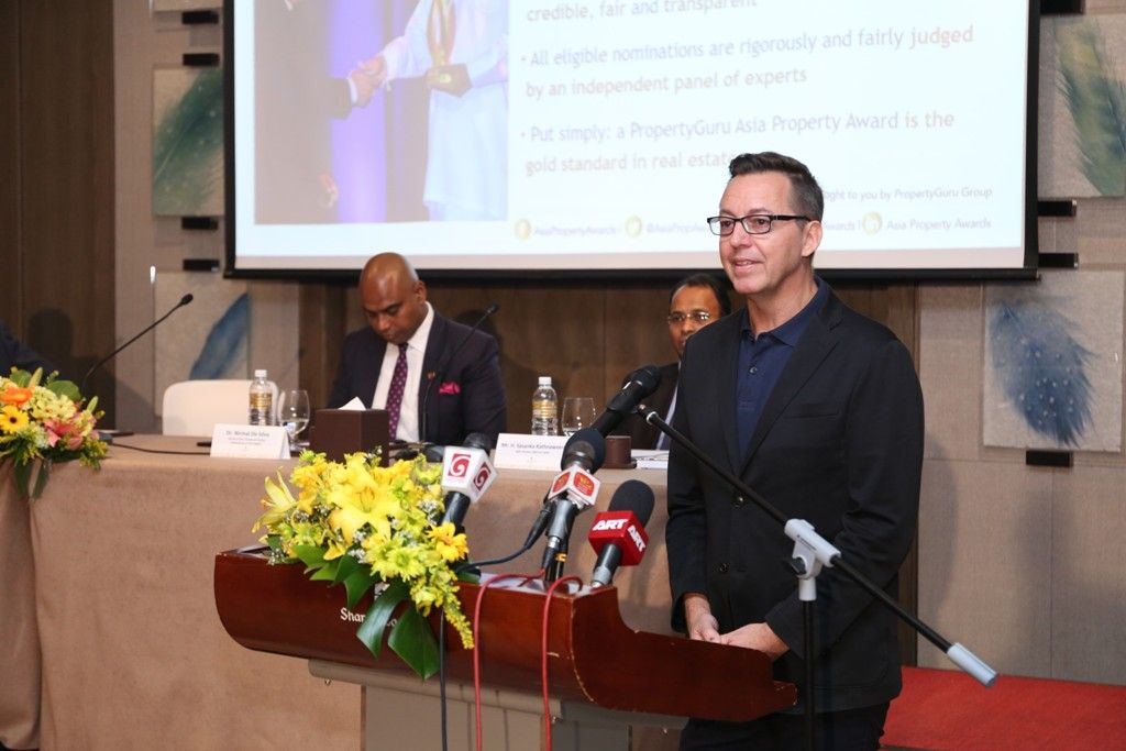 Asia Property Awards business director Jules Kay addresses members of the media gathered at the official launch of the 3rd Annual PropertyGuru Asia Property Awards (Sri Lanka) in Colombo today